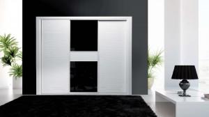 Serie Elite 121 - Perfil Blanco Panel Pantografiado Blanco Brillo y cristal galaxia